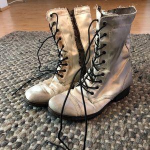 Satin Combat Boots